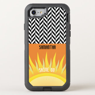 Personalized Herringbone with Sunset Colors - OtterBox Defender iPhone 7 Case