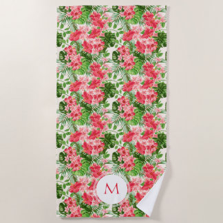 Personalized Hibiscus Flower Monogram Beach Towel