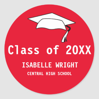 Personalized High School Graduation Sticker Red