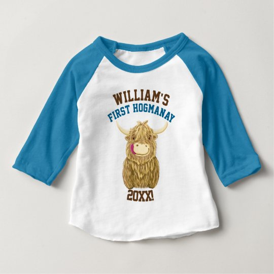 Personalized Highland Cow First Hogmanay Baby T-Shirt