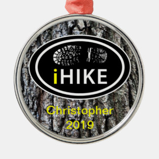 "Personalized Hiking ""iHIKE"" Tree Bark Ornament"