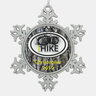 "Personalized Hiking ""iHIKE"" Tree Bark Ornamet Snowflake Pewter Christmas Ornament"