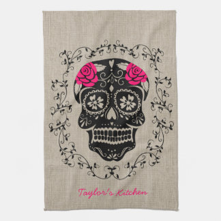 Personalized Hipster Sugar Skull Kitchen Towel