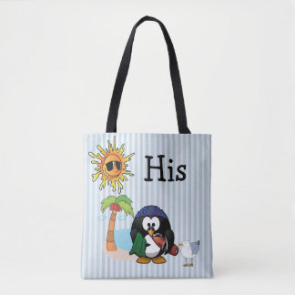 "Personalized ""HIs"" Penguin Beach Tote Bag"