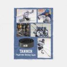 Personalized Hockey 5 Photo Collage Name Team # Fleece Blanket