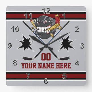 Personalized Hockey Clocks, Hockey Bedroom Decor Square Wall Clock