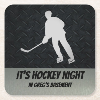 Personalized Hockey Night Coasters for Home Bar