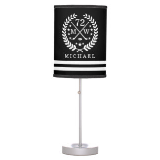 Personalized Hockey Player All-Star Black Table Lamp