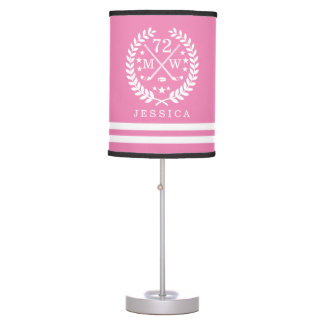 Personalized Hockey Player All-Star Pink Desk Lamp