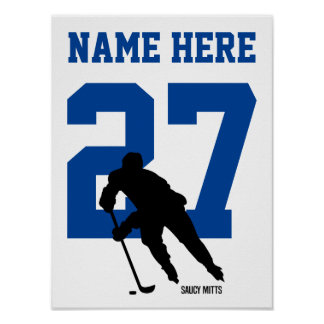 Personalized Hockey Player Number Blue Poster