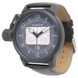 Personalized Hockey Rink Diagram Blue Carbon Style Wrist Watch