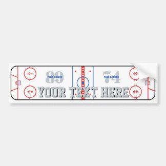 Personalized Hockey Rink Diagram Design on a Bumper Sticker