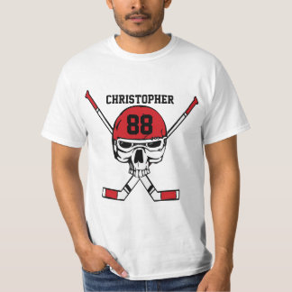 Personalized hockey skull and sticks T-Shirt