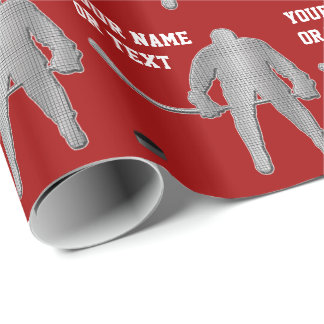 Personalized Hockey Wrapping Paper, COLORS, TEXT Wrapping Paper