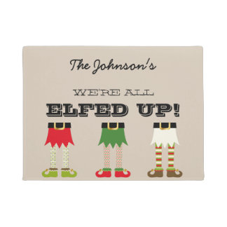 Personalized Holiday Chistmas Elves Elfed Up Doormat