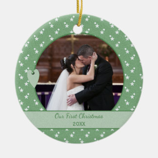 Personalized Holiday First Christmas Photo Ceramic Ornament