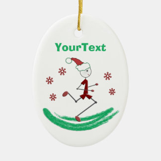 PERSONALIZED Holiday Stick Runner Guy Ceramic Oval Ornament