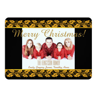 Personalized Holly Border Christmas Photo Card