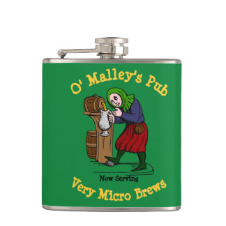 Personalized Home Brewer Pub Logo Flasks