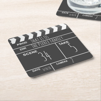 Personalized Home Theater Custom Movie Clapboard Square Paper Coaster