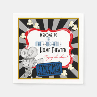 Personalized Home Theater Movie Napkins Disposable Napkins
