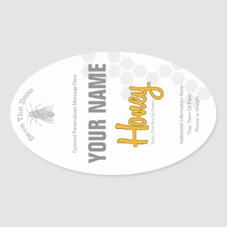 Personalized Honey Bottle Custom Label Oval Sticker