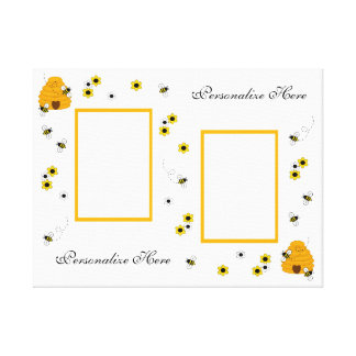 Personalized Honey Bumble Bee Canvas Wall Art Gallery Wrap Canvas