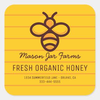 Personalized Honey Jar | Modern Honeycomb Bee Square Sticker