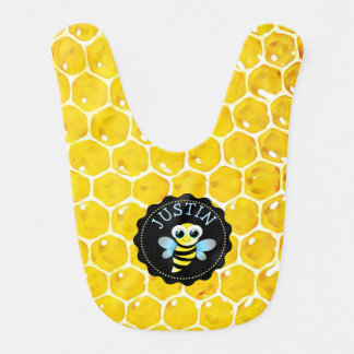 Personalized Honeybee Bumble Honeycomb Baby Bib