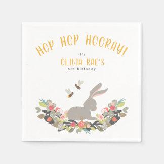 Personalized Hop Hop Hurray Rabbit Birthday Party Napkin