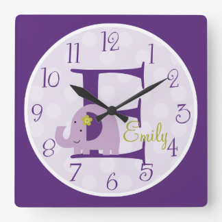 Personalized Hopscotch Lavender Elephant Clock