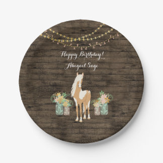 Personalized Horse, Flowers Rustic Wood Birthday Paper Plate