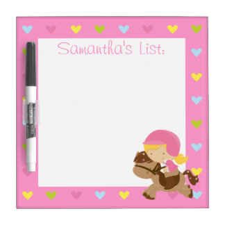 Personalized Horse Riding Hearts Dry Erase Boards