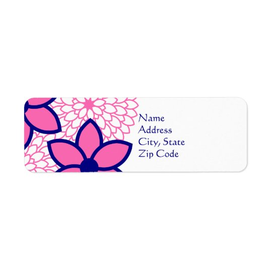 Personalized Hot Pink and Navy Blue Modern Floral
