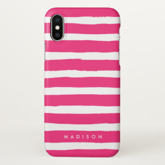Personalized Hot Pink and White Brushed Stripe iPhone X Case