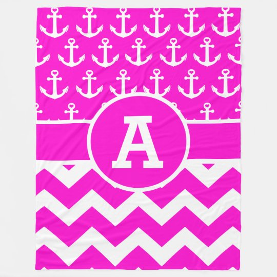 Personalized Hot Pink Chevron Anchors Pattern Fleece Blanket