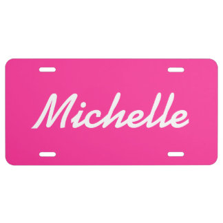 Personalized hot pink license plate with name