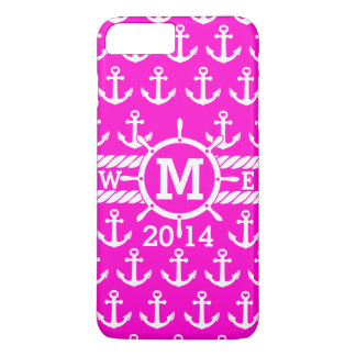 Personalized Hot Pink Nautical Anchors Pattern iPhone 7 Plus Case