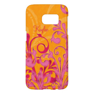 Personalized Hot Pink Orange Abstract Floral Samsung Galaxy S7 Case