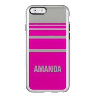 Personalized Hot Pink Stripes Incipio Feather® Shine iPhone 6 Case