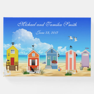 Personalized Houses on the Beach Wedding Guest Book
