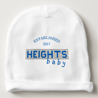 Personalized Houston Heights Blue and White Tile Baby Beanie