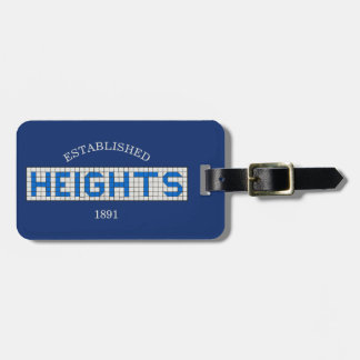 Personalized Houston Heights Blue and White Tile Luggage Tag