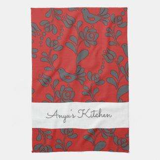 Personalized Hungarian Folk Art Kitchen Towel