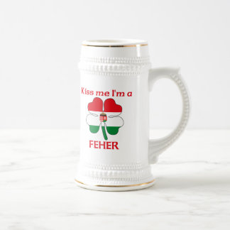 Personalized Hungarian Kiss Me I'm Feher 18 Oz Beer Stein
