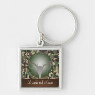 Personalized Hunting Theme Deer Antlers Camo Silver-Colored Square Keychain