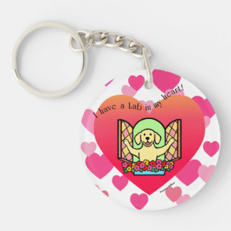 Personalized I have a Lab in my Heart (Yellow) Double-Sided Round Acrylic Keychain