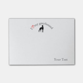 """Personalized """"I heart my greyhound"""" Post-it Notes"""