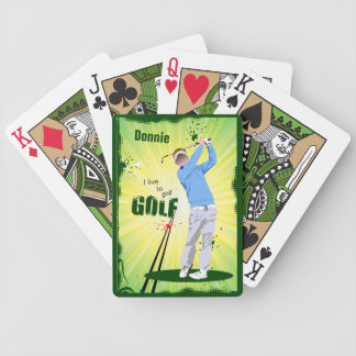 Personalized I Live to Golf Golfer Playing Cards