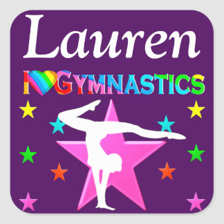 PERSONALIZED I LOVE GYMNASTICS PURPLE STICKER